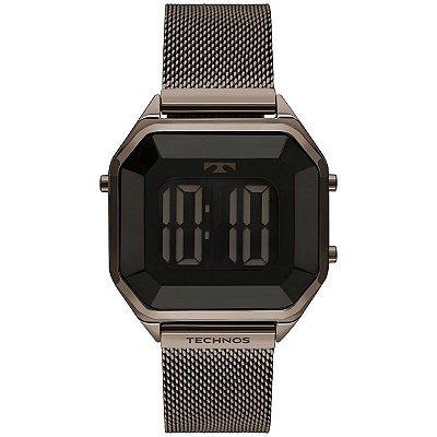 Relógio Feminino Technos Digital Quadrado Chocolate BJ3851AL4P