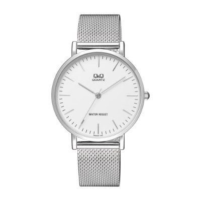 Relógio Masculino Q&Q Slim Prata com Pulseira Mash