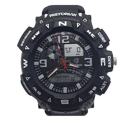 Relógio Masculino Petrorian Anadigital Preto com Branco
