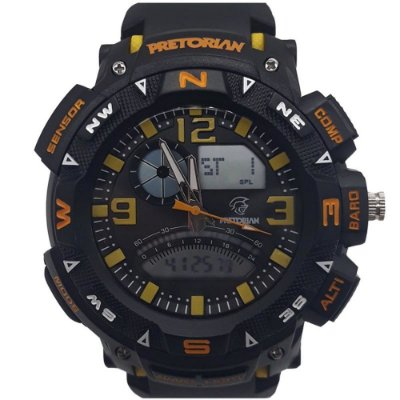 Relógio Masculino Petrorian Anadigital Preto com Amarelo