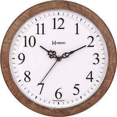 Relógio de Parede Herweg Redondo Analógico na cor Madeira