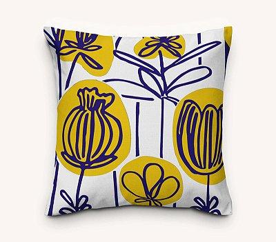 Capa de Almofada Floral Amarela