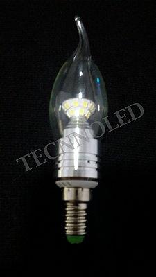Lampada Vela Super Led E14 5w Cristal Bico Torto Branco Quente 3500k