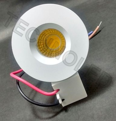 Mini Spot Embutir Led 3w Cob Redondo Branco Quente 3500k
