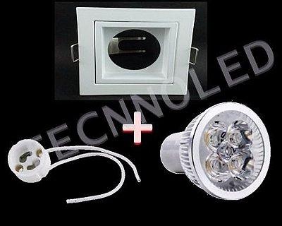 Spot Aluminio Kit Quadrado Super Led 5w Spot/led/soquete Branco Frio 6500k