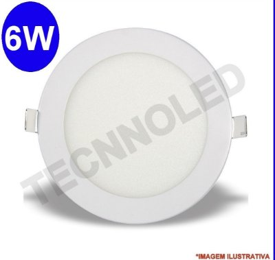 Painel Plafon Luminária Redondo Led Slim 6w 6500k Branco Frio