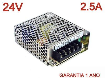 Fonte Alimentação Automatica 24v 2.5a S-60w Bivolt Chip Pwm Andeli