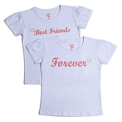 Kit 2 Camisetas Infantil Jokenpô Best/Forever Feminina