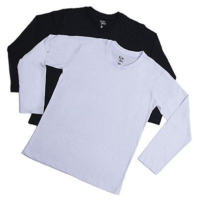Kit 2 Camisetas Infantil Menino Jokenpô Básica M/L - Branco+Preto
