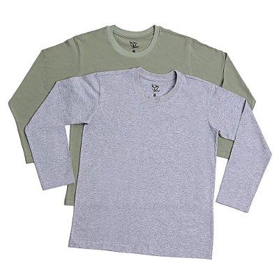 Kit 2 Camisetas Infantil Menino Jokenpô Básica M/L - Mescla+Militar