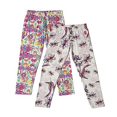 Kit 2 Calças Leggings Infantil Menina Jokenpô - Floral Pink + Rosa