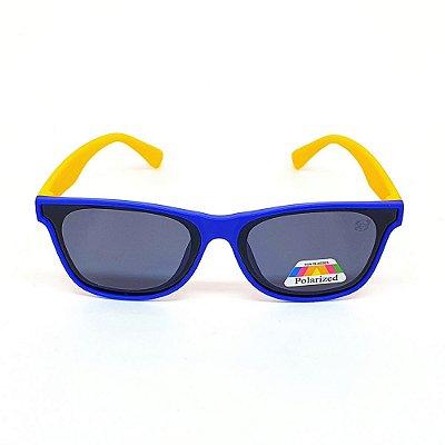Óculos Infantil de Sol Flexível Polarizado UV400 Azul e Amarelo