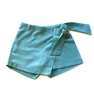 Shorts Saia Infantil Menina Jokenpô Chambray Verde Água
