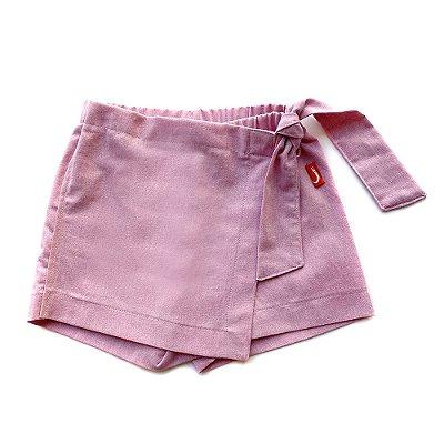Shorts Saia Infantil Menina Jokenpô Chambray Rosa
