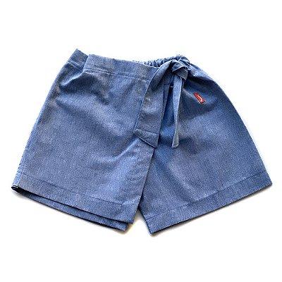 Shorts Saia Infantil Menina Jokenpô Chambray Azul