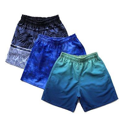 Kit 3 Shorts D'Água Infantil Menino Jokenpô - Degradê+Pixel+Preto