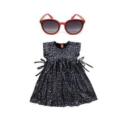 Kit Vestido Infantil Menina Jokenpô Estrela + Óculos De Sol Vermelho
