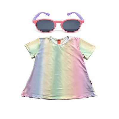 Kit Blusa Infantil Menina Jokenpô Degradê + Óculos De Sol Rosa e Roxo