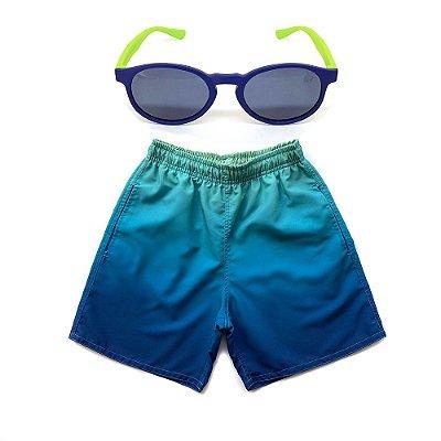 Kit Shorts Infantil Menino Jokenpô Degradê + Óculos De Sol Azul e Verde