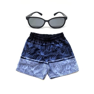Kit Shorts Infantil Menino Jokenpô Degradê + Óculos De Sol Preto