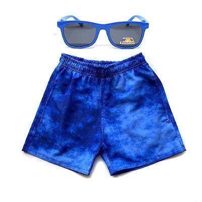 Kit Shorts Infantil Menino Jokenpô Pixel + Óculos De Sol Azul