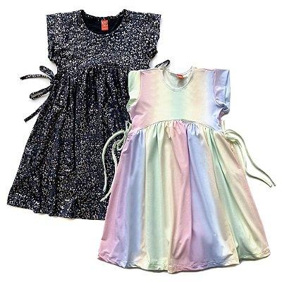 Kit 2 Vestido Infantil Menina Jokenpô - Degradê + Estrelas