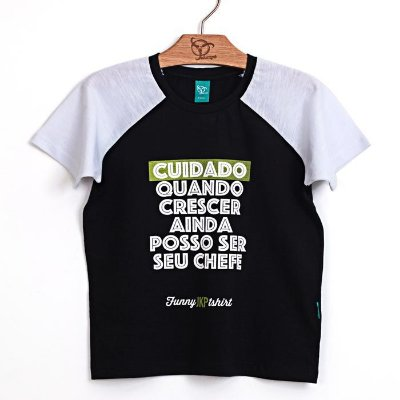 Camiseta Infantil Cuidado Preto
