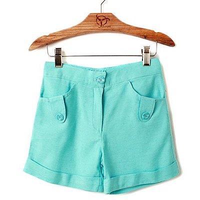 Shorts Infantil Linho Azul Turquesa