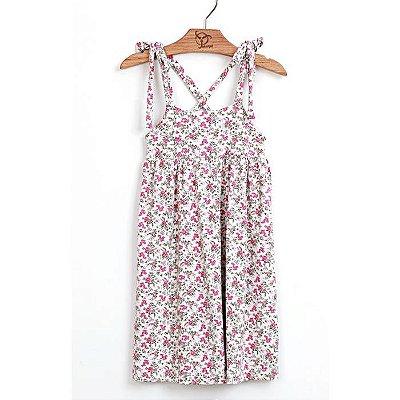 Vestido Jokenpô Infantil Alça  Floral Liberty