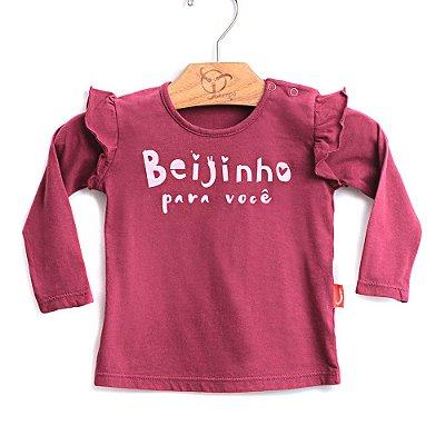 Blusa Bebê Beijinho Vinho