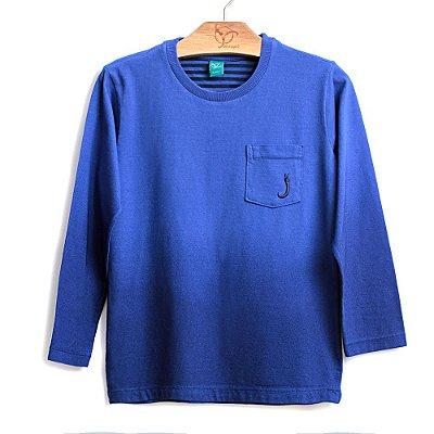 Camiseta Infantil Bolso Azul  M/L