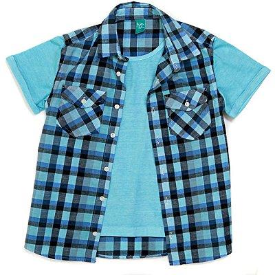 Camisa Jokenpô Infantil Xadrez/Malha Verde Água