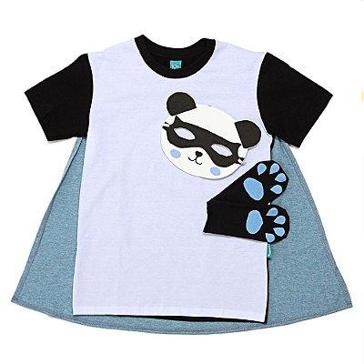 Camiseta Jokenpô Infantil Capa Panda com Mascará e Luvas