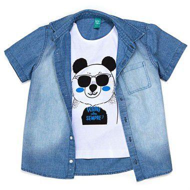 Camisa Jokenpô Infantil Panda com Giz Para Desenhar