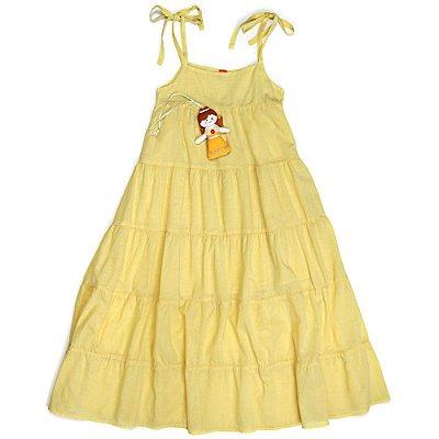 Vestido Jokenpô Infantil Longo Boneca Amarelo