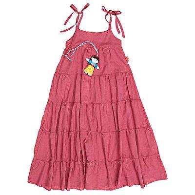 Vestido Jokenpô Infantil Longo Boneca Vermelho