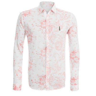 Camisa Jokenpô Casual Cambraia Flores Salmão Masculina