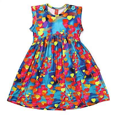 Vestido Jokenpô Infantil Corações Azul