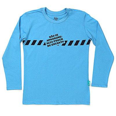 Camiseta Jokenpô Infantil M/L Não Se Aproxime Azul
