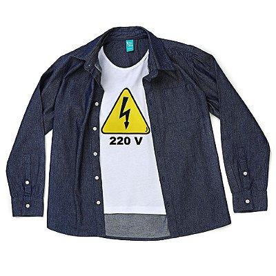 Camisa Jokenpô Infantil Jeans 220 Volts