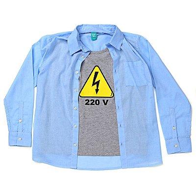 Camisa Jokenpô Infantil Cambraia Azul 220 Volts