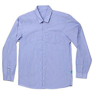 Camisa Jokenpô Casual Tricoline Listrada Azul Masculina