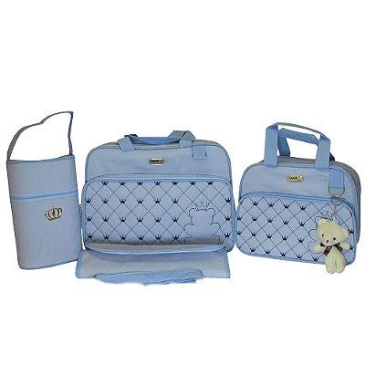 Kit Bolsa Maternidade Jokenpô / Ludy Baby Urso Pelúcia Azul Bebê