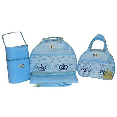 Kit Bolsa Maternidade Jokenpô / Ludy Baby Coroa Azul Bebê