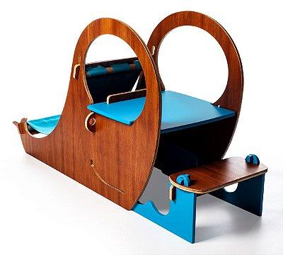 Mesinha e Espreguiçadeira Jokenpô/Tauga Infantil Whale Azul