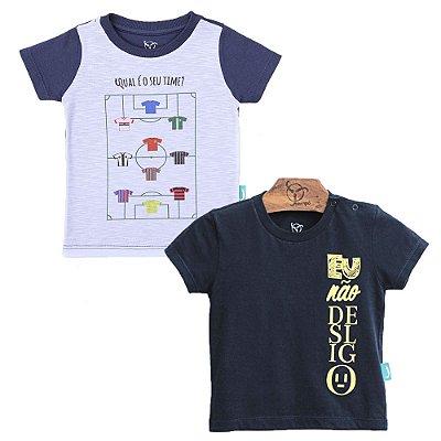 Kit 2 Peças - Camisetas Jokenpô Bebê Desligo / Time