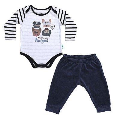 Conjunto 2 Peças - Body Jokenpô Bebê Amigos + Calça