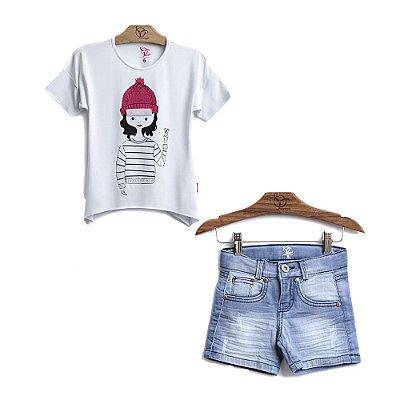 Conjunto 2 Peças - Blusa Boneca + Shorts Jeans