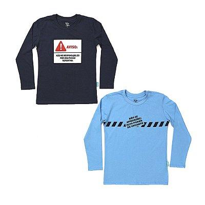 Kit 2 Peças - Camisetas Aviso Chumbo + Aproxime Azul