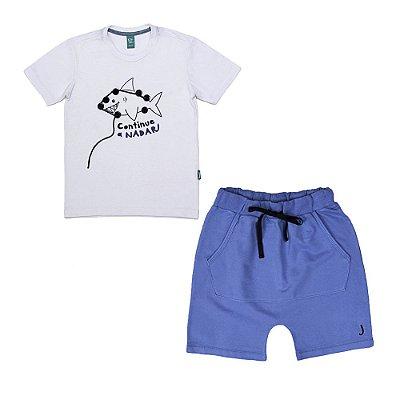 Conjunto 2 Peças - Camiseta Tubarão + Bermuda Azul